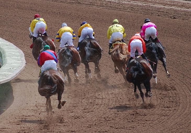 Horse racing from behind