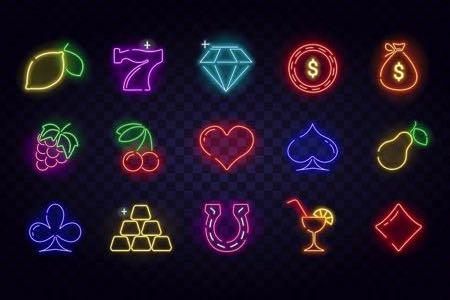 Neon gaming symbols