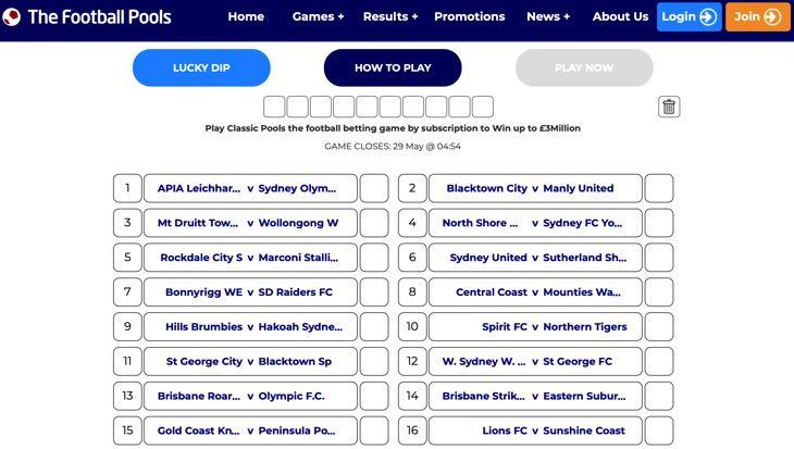 The Football Pools website