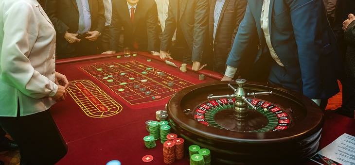 A traditional roulette table